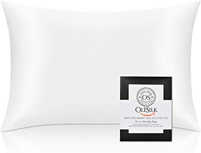 OLESILK 25 Momme Silk Pillowcase for Hair and Skin Standard Size, 100% Mulberry Silk Pillow Cases for Women, Both Sides Silk with Hidden Zipper, Cooling Breathable Smooth - Ivory, 20''×26'', 1 Pack