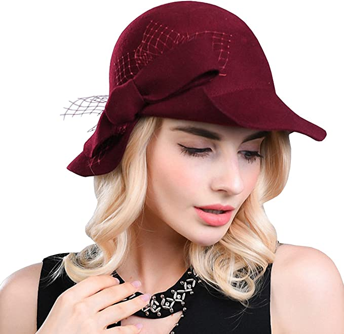 1920s Hat Styles for Women – History Beyond the Cloche Hat Maitose Womens Wool Felt Bow Flowers Church Bowler Hat  AT vintagedancer.com