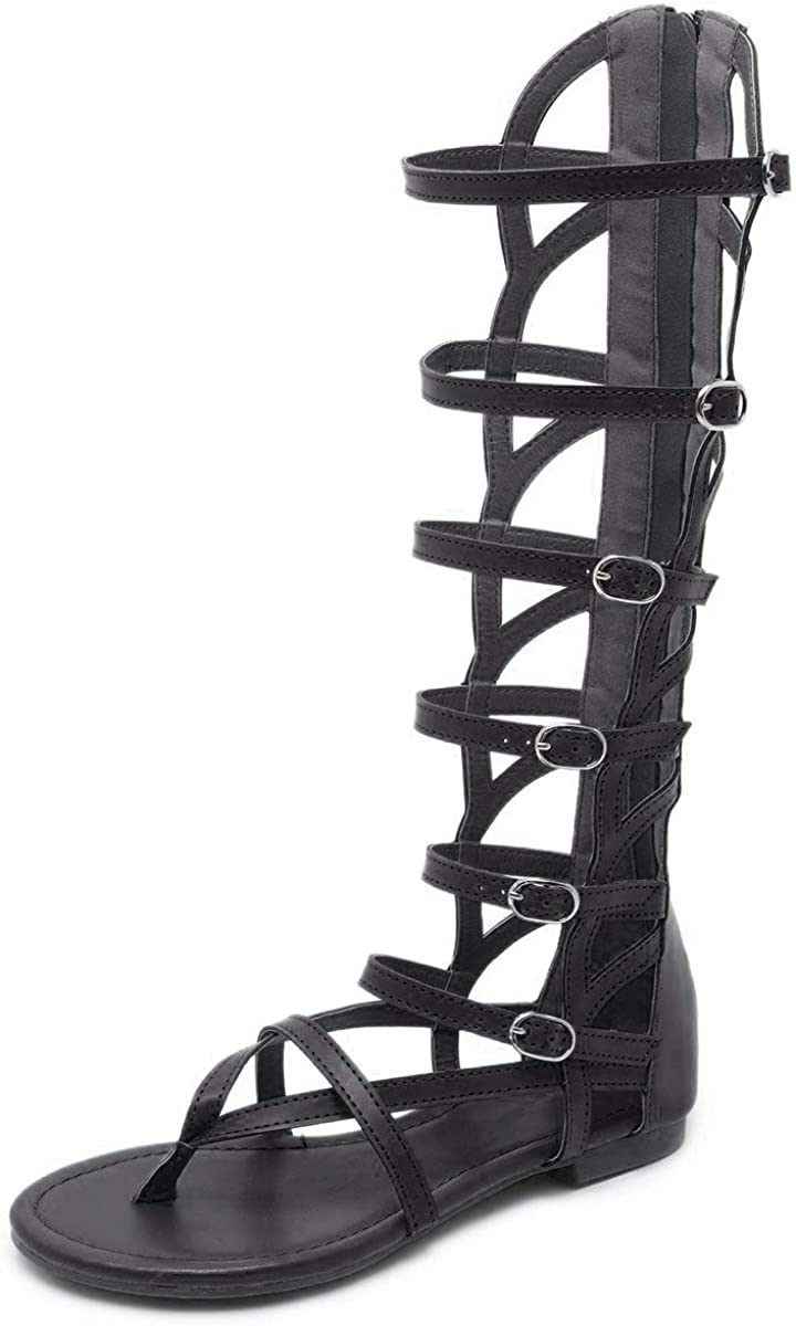 Dear Time Knee High Gladiator Thong OFFicial store overseas Cut S Out Sandal Summer Flat