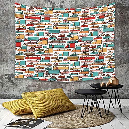 Tapestry,Hippie Tapiz,tapiz de pared con decoración para el hogar,Coches, Niños Dibujo de Muchos Vehículos Motos Caravanas Camiones Taxis ,para picnic Mantel o Toalla de Playa redonda 130 x 150 cm