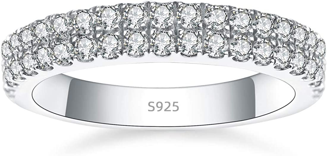 AVECON 925 Sterling Silver Womens Wedding Band Round Zi Cubic A surprise price Outlet SALE is realized 5A