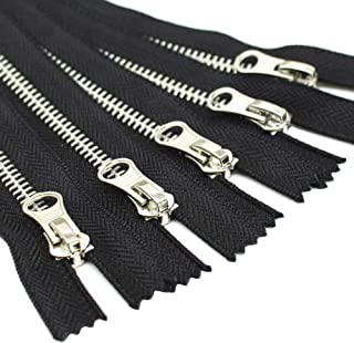 YaHoGa 5pcs #5 Silver Metal Zippers Bulk Close End Metal Zippers for Sewing Bags Crafts Jackets (C/E Silver), 15cm 5pcs