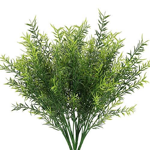 NAHUAA 4PCS Plantas Falsas Arbustos Artificiales al Aire Libre Paquetes Arbustos de Plástico Verde para el Hogar Cocina Oficina Jardín Centros de Mesa Patio Cesta Maceta Decoración Exterior