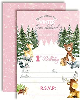 Woodland Winter Wonderland One-derland First Birthday Party Invitations for Girls, 20 5