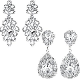 2 Set Silver/Gold Tone Long Rhinestone Crystal Drop Earrings Wedding Bridal Dangle Earrings for Women Girl