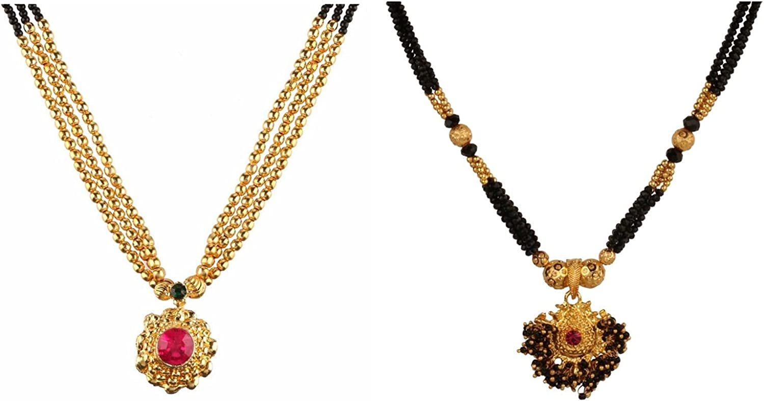 Efulgenz Mangalsutra Indian Jewelry Traditional Black Beaded Pearl Temple Pendant Necklace for Women