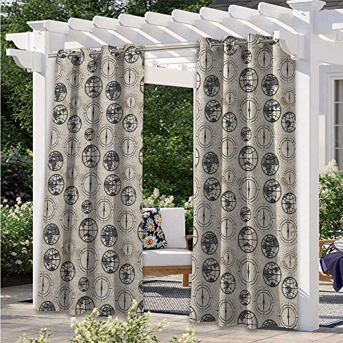 Adorise Outdoor Curtain World Map Pattern with Aged Background Maritime Symbols Directions Continents Fashion Design Outdoor Curtain Drape Beautify Your Outdoor Area Black Grey Tan W120 x L96 Inch