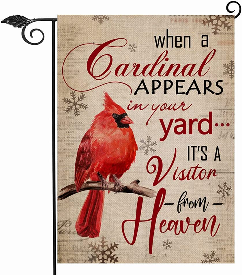 Hzppyz When a Cardinal Appears in Your Yard Winter Decorative Garden Flag Double Sided, Red Bird Snowflake Quote Memorial Gift Outdoor Small Decor, Christmas Farmhouse Home Outside Decoration 12 x 18