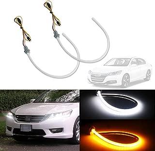 GTINTHEBOX Switchback Dual-Color White/Amber Illuminating Headlight LED Daytime Running Signal Lights DRL Retrofit for 2013-2015 Honda Accord Sedan,2 Pcs