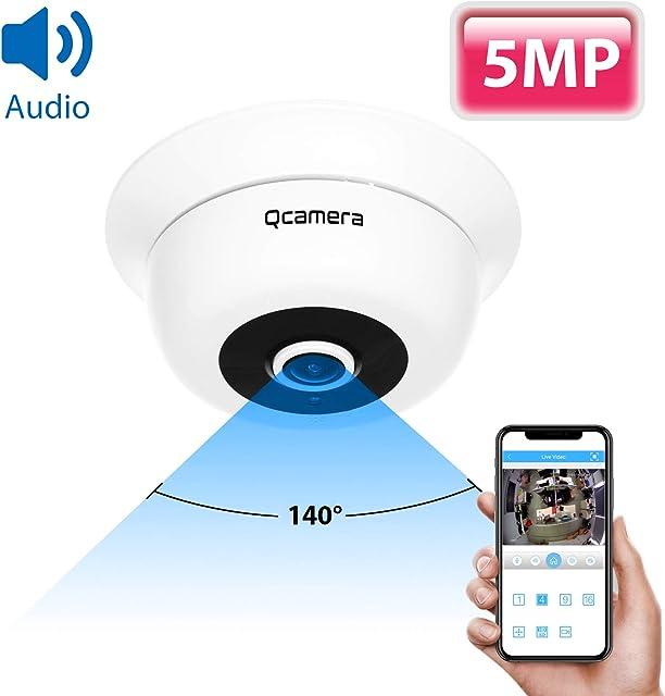 Q-camera CáMara De Seguridad 5MP TVI/CVI/AHD/CVBS 1/2.5 Sensor De 1.8 mm Lente Audio Incorporado Gran Angular De Ojo De Pez CáMara De Vigilancia De VisióN Nocturna por Infrarrojos para Interiores