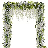 Size: 1 order include 5 wisteria,This white wisteria is 6.6ft/2m in length, each wisteria contain 5 flower stems, and each flower stem is 15 inch in length. Material: Silk Fabric & Plastic.The stems are made of environmentally friendly plastic and fl...