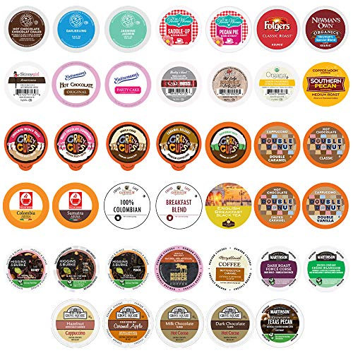 Perfect Samplers Coffee, Tea, Cider,Cappuccino For Keurig K Cups Brewers, Mix 40 Count