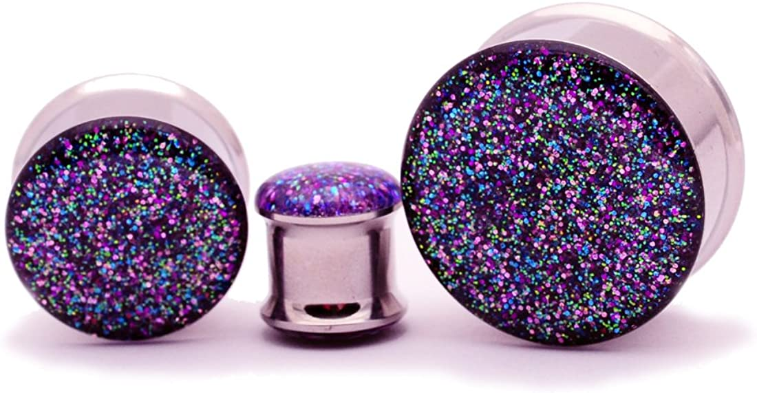 Mystic Metals Body Jewelry Double Flare Galaxy Glitter Plugs - Sold As a Pair