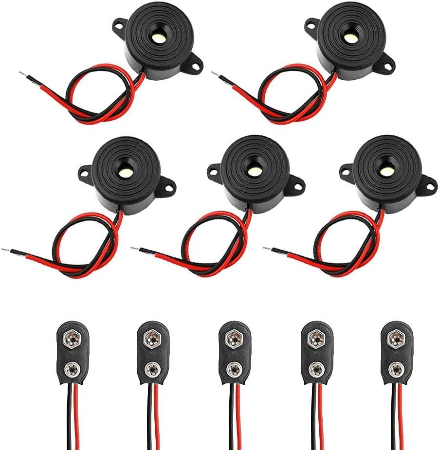 5pcs DC 3-24V 85DB electrónico Zumbador Piezo Tono de Piezo de Alarma de Sonido Intermitente electrónico Sonda Alarma para computadoras, fotocopiadoras, Alarma, Juguetes electrónicos