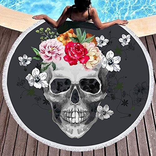 Calavera Cráneo Flores Toalla de playa grande redondo microfibra toalla de playa playa manta Toalla Mantel de picnic pared Alfombra para yoga (150cm