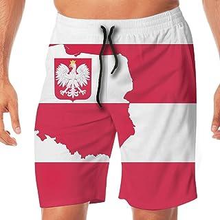BLACK-DO Men Summer Poland Map Flag Quick Dry Volleyball Beach Shorts Board Shorts