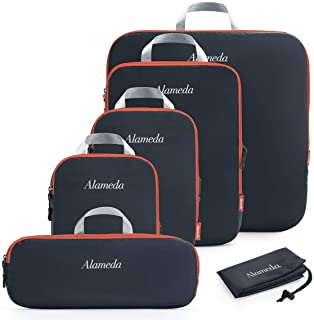 Compression Packing Cube Set 6pcs for Carryon Luggage, Travel Packing Organizers with Laundry Bag for Backpack, Dark Grey