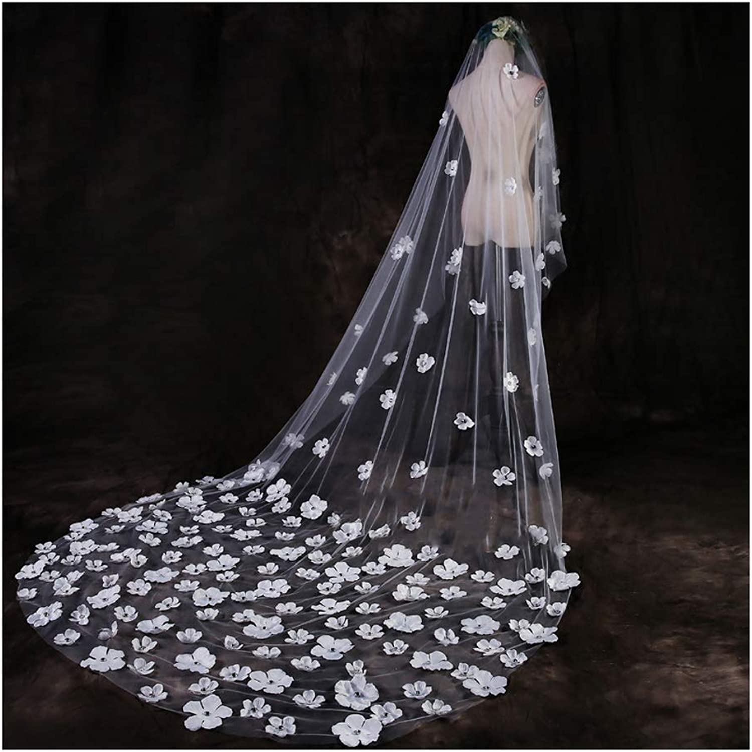 Fenghuavip 1T Tulle 3 Meters Long Cathedral Bridal Wedding Veils with Petals