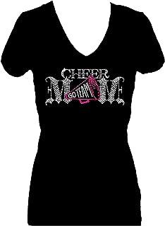 Cheer Mom Go Team Rhinestone Glitter V Short Sleeve Tee Shirt