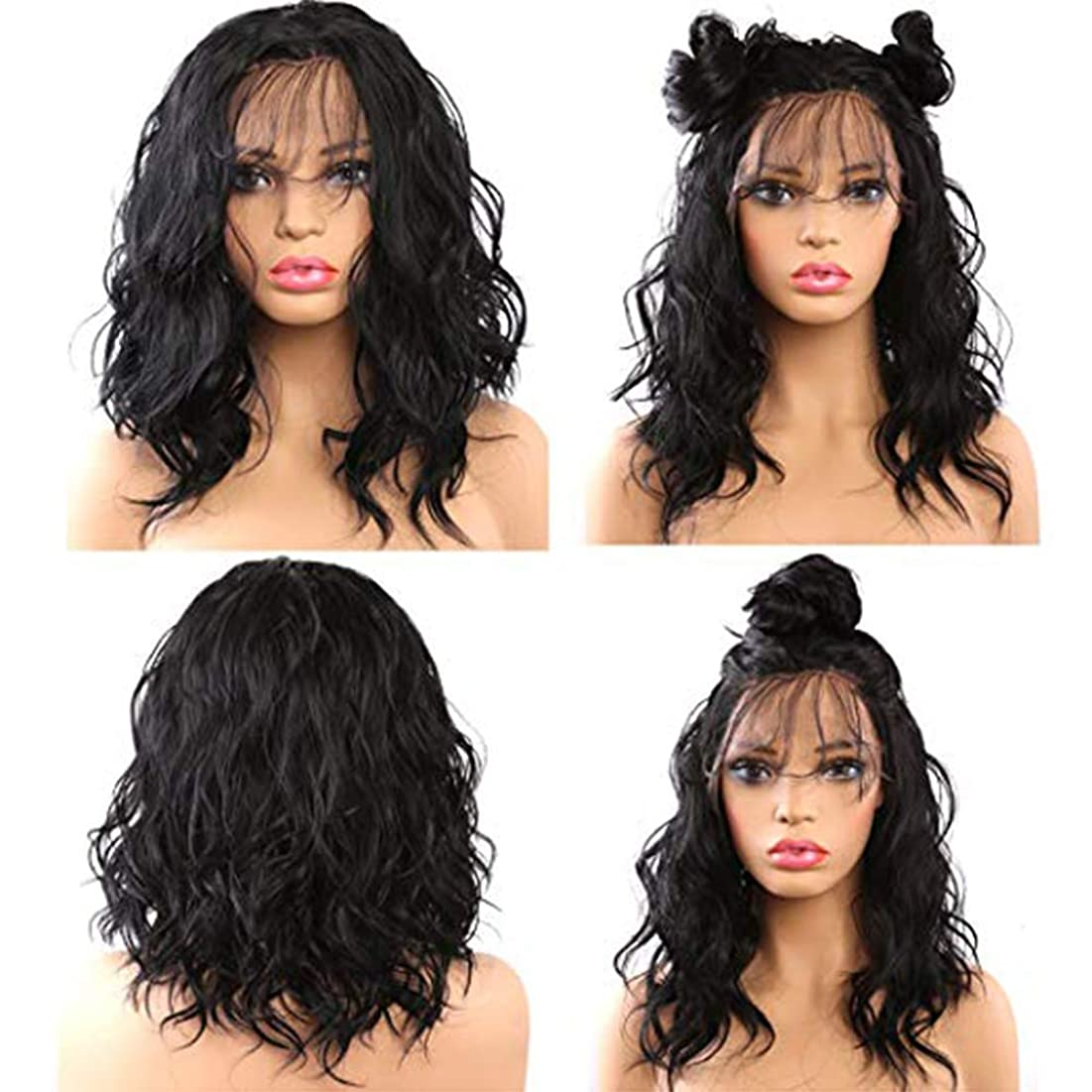 証明書キャビン幻滅する女性用ウィッグ黒フロントレースかつらショートヘア180%密度18インチ