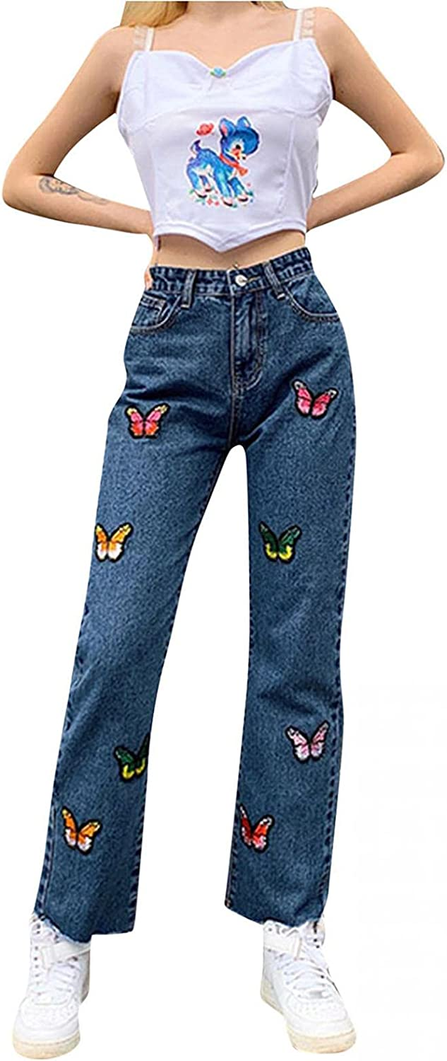 Lingbing Y2K Fashion Jeans, High Waisted Jeans for Women Denim Pants Patchwork Wide Leg Jeans Vintage Slim Straight Pant