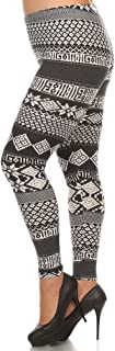 Women's Plus American Indian Aztec and Stripe Pattern Printed Leggings - Navajo Tribal Canadian Maple Shape Form