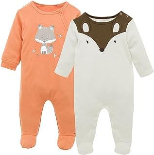 Pijama para Bebé 2 piezas Niños Niñas Pelele Manga Larga Mameluco Mono Body Algodón Trajes 6-9 Meses