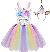 Agoky B/éb/é Enfant Fille Robe de Princesse D/éguisement Licorne Robe No/ël sans Manche Tutu Serre t/ête Robe de Danse Anniversaire Cospaly Costume Halloween Carnaval 2-12 Ans