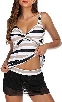 Darringls Costumi da Bagno, Bikini Donna Costume Intero Push Up Costume Donna Taglie Forti Moda Sexy Estate Tankini Striscia Costume da Bagno Intero - Confronta prezzi