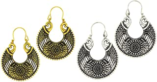 Kaizer Jewelry Special Tribal Collection of Oxidized Silver (Gold) Hanging Earrings for Women Girls (Gift) DS-30