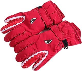 Kid Waterproof Skiing Gloves Cute Crocodile Winter Outdoor Snow Thermal Warm Mittens with elastic wrist for 6-14Y Girls Boys