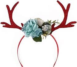 WINZIK Children Girls Halloween Headwear Headband Deer Antlers Flower Hair Hoop Christmas Party Costume Photo Props Headdress