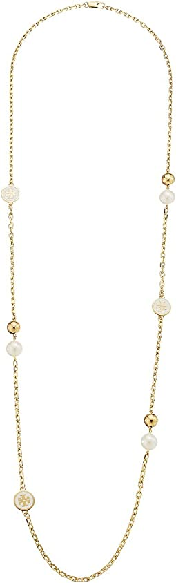 Tory Burch - Lacquered Logo Rosary Necklace