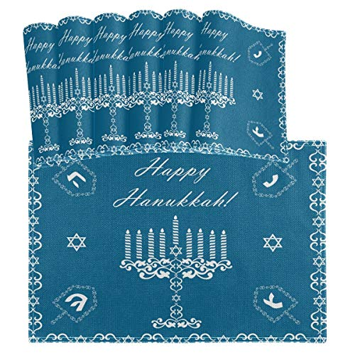 vvfelixl Chanukah Holiday Happy Hanukkah Set of 6 Placemats 18'X12' Table Mats Cloth Kitchen Linen Sets Linen-Like Heat-Resistant Dining Home Decorations Everyday Use