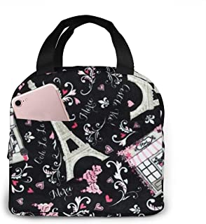Lunch Box Paris Eiffel Tower Floral Warmth Carry Case Container for Men Women Children Adults, Work School Office Leakproof Lunch Holder Polyester Handbag Portable Food Bag