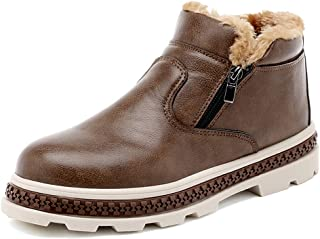JIANFEI LIANG Men's Fashionable Snow Boots Casual Convenient Zipper Winter Faux Fleece Inside Home Shoes Thick Bottom Wear-resistant Warm Boots (Color : Brown, Size : 39 EU)