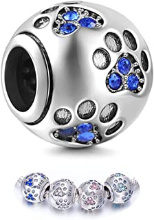 ENJOOOY Sterling Silver Dog Paw Print Charm Beads with Cubic Zirconia Crystals fit Pandora Style Beaded Bracelets for Pet ...