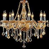 8012 Lámpara de Araña de Cristal Ámbar Dorado 6 Luces Vela Lámpara Colgante Maria Teresa (6 Brazos)