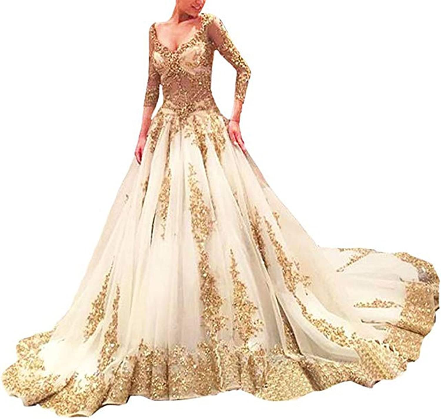 Alilith.Z Sexy V Neck See Through Long Sleeve Bridal Gowns gold Appliques Beaded Wedding Dresses for Bride Train 2018