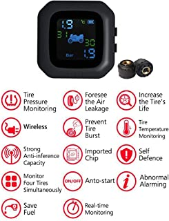 qwrew Zhanwang17 Tire Pressure Monitor - Motorcycle Tire Pressure Monitoring System ,Super Waterproof Cordless High Precision Tire Pressure Alarm handsomely Security Stunning