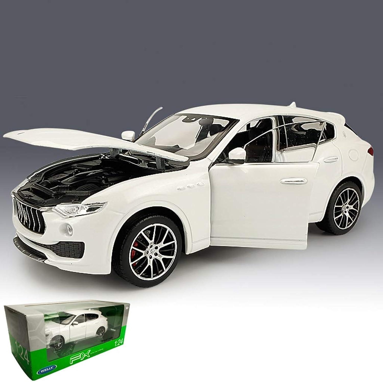 PENGJIEModel 1 24 Maserati Levante Offroad Vehicle Model Simulation SUV Alloy Car Model Decoration Gift (color   White)