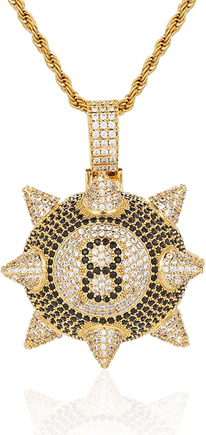 Moca Jewelry Iced Out Meteor Hammer Black 8 Pendant Necklace 18K Gold Plated Bling CZ Simulated Diamond Hip Hop Rapper Chain Necklace for Men Women