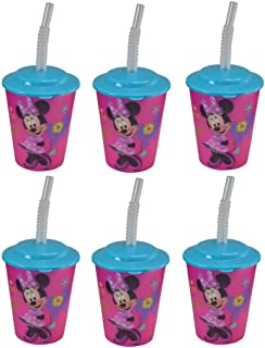 6-Pack Disney Minnie Mouse 12oz Lenticular Tumbler Cup with Lid and Straw