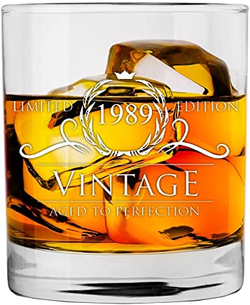 featured product 1989 30th Birthday Gifts for Women and Men Whiskey Glass
