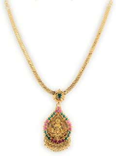 AFJ GOLD 1 Gram Micro Gold Plated Traditional Designer Fashion Jewellery Ruby Emerald Stone Necklace for Women & Girls (OE...