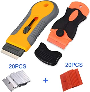 2-Piece Multi-Purpose Razor Scraper Set with Protective Blade Cover and 40pcs Extra Razor Blades for Decals, Caulk, Scraping Labels, Paint from Glass, Subfloor, Stickers, Stovetop