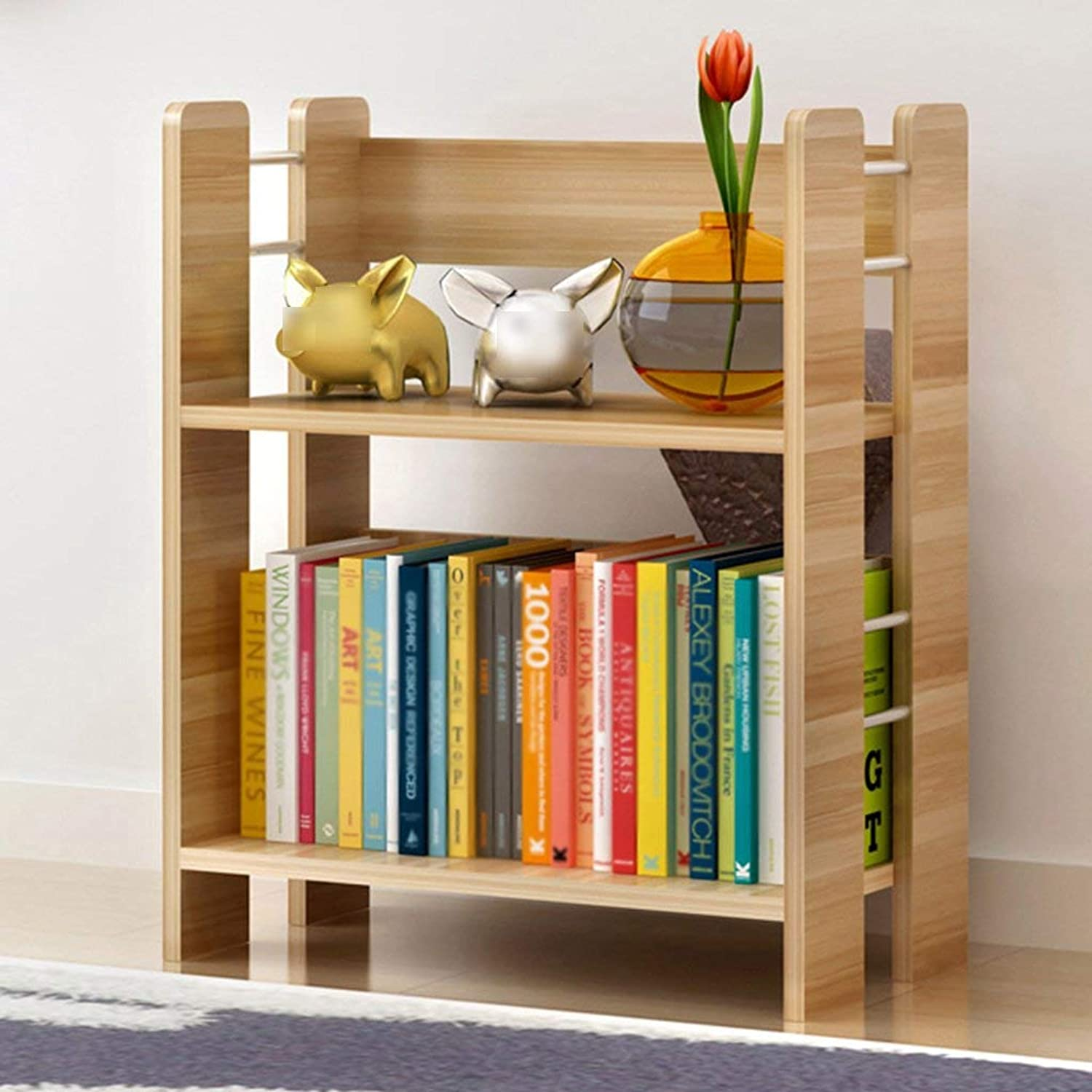Storage Shelf TH Bookshelf Simple Modern Shelf Creative Landing Small Bookshelf Study Display Stands Bookcase (color   Yellow Wood color, Size   4-Tier) Home Stand