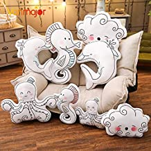 LAJKS 1Pc 50/70Cm Cartoon Style Dolphin Seahorse Cloud Pillow Cushion Cotton Animal Plush Toys Children's Toys Room Decor Teen Must Haves Inspirational Gifts Favourite Movie 5T Superhero Girls