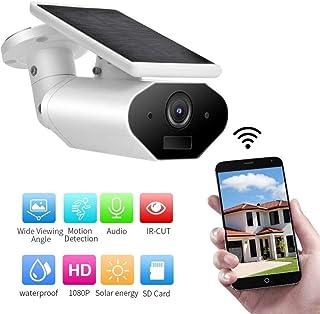 SHBUJ® -Cámara IP con Alimentación Solar Cámara De Seguridad HD 1080P Wi-Fi para Exteriores con Batería Soporte De Batería De Energía del Panel Solar Amazon Alexa Visión Nocturna