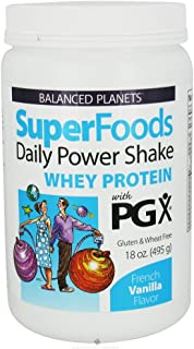 Natural Factors Balanced Planets Superfoods Daily Power Shake, Whey Protein with PGX, French Vanilla, 18-Ounce